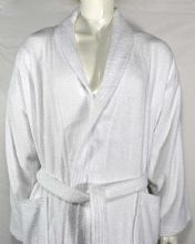 Luxurious linenHall, 500gsm 100% Cotton Shawl Bath Robe in White